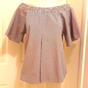 Creme Off The Shoulder Brown And White Cotton Top Size XL